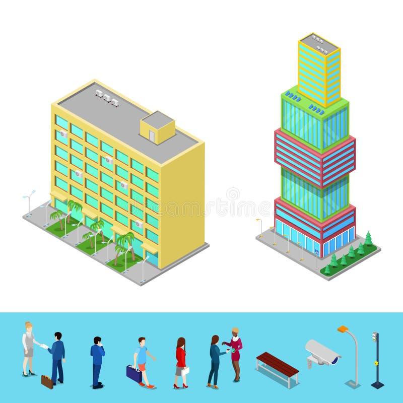 与商人的等量摩天大楼市政厅大厦 向量例证