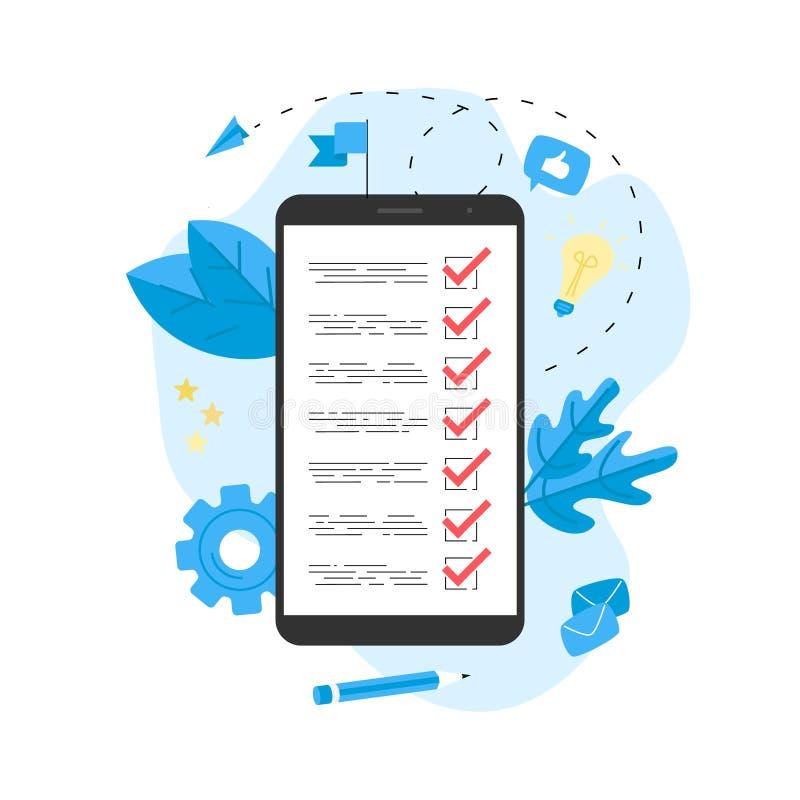 与商人的网上行动纲领概念 事务、时间管理和个人组织的概念 库存例证