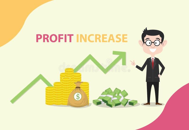 与商人身分的赢利增量与金钱和图表增加 库存例证