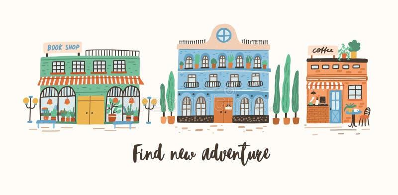 与商店、咖啡馆和工厂建筑物的明信片模板在欧洲城市街道上和发现新的冒险诱导 库存例证