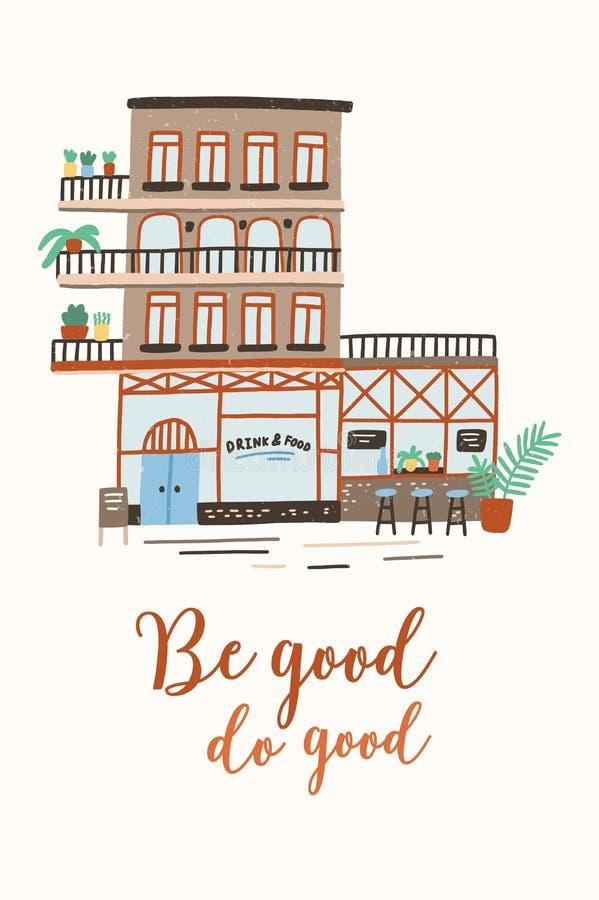 与商店、商店或者咖啡馆大厦的明信片或海报模板在城市或镇街道上和是好做好 向量例证