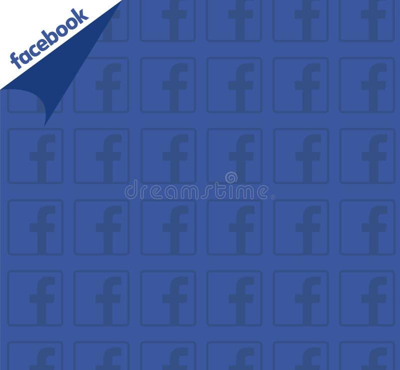与商标样式的Facebook蓝色背景 干净的传染媒介设计 社会媒体概念 库存例证