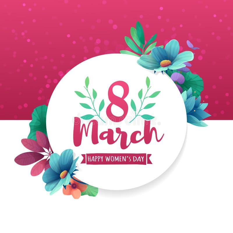与商标的圆的横幅为在桃红色背景的国际妇女` s天 飞行物与装饰o的3月8日 向量例证