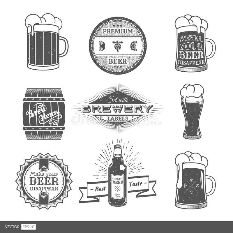 与啤酒厂标签的葡萄酒集合 库存例证