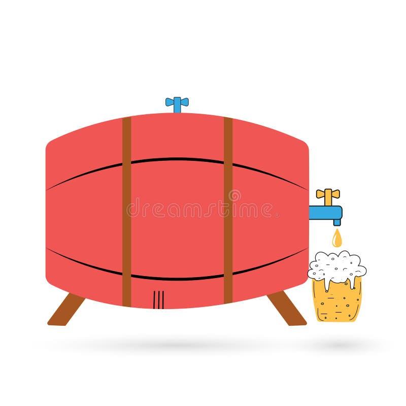 与啤酒杯的桶 您设计新例证自然向量的水 皇族释放例证