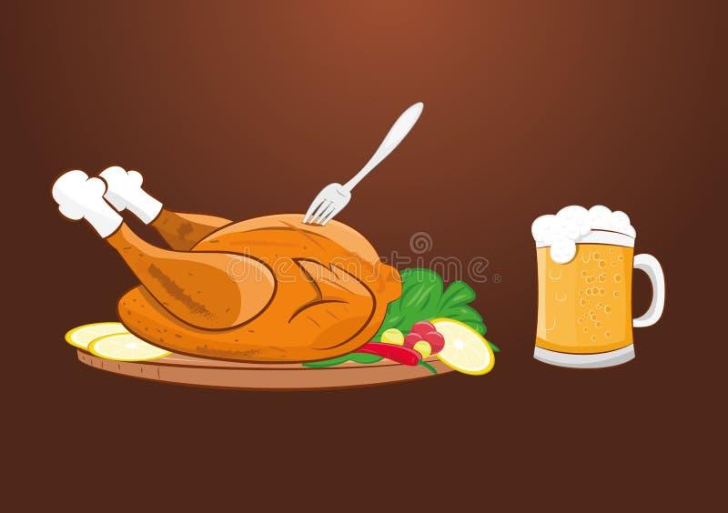 与啤酒杯的烤烤鸡 库存例证
