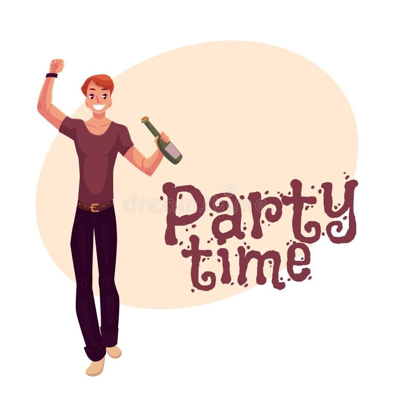 与啤酒瓶的年轻人跳舞在党,夜总会 向量例证