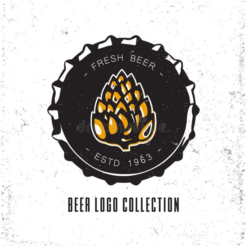 与啤酒瓶盖帽的创造性的商标设计 皇族释放例证
