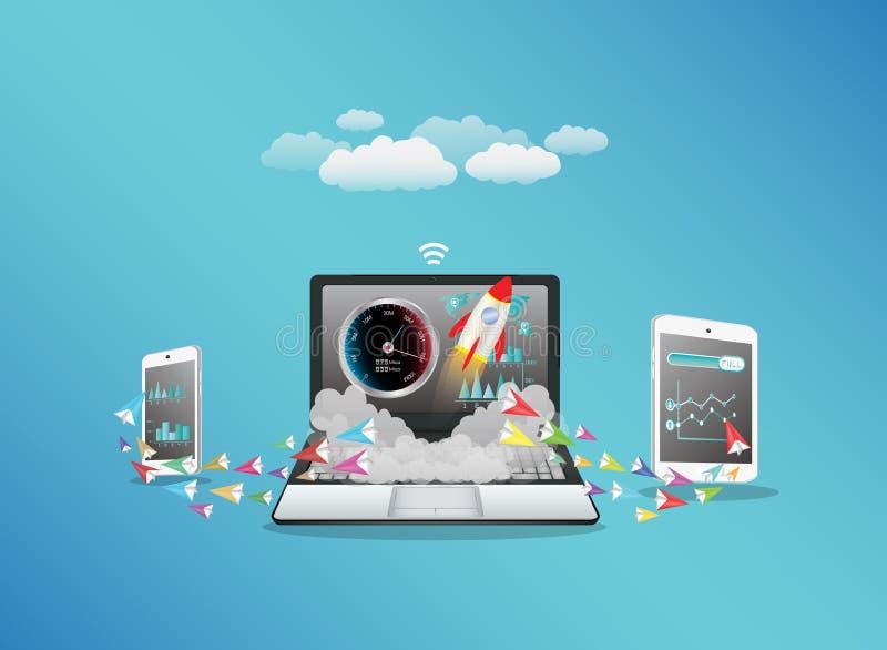 与喂速度互联网的膝上型计算机聪明的电话和片剂转移的数据 向量例证
