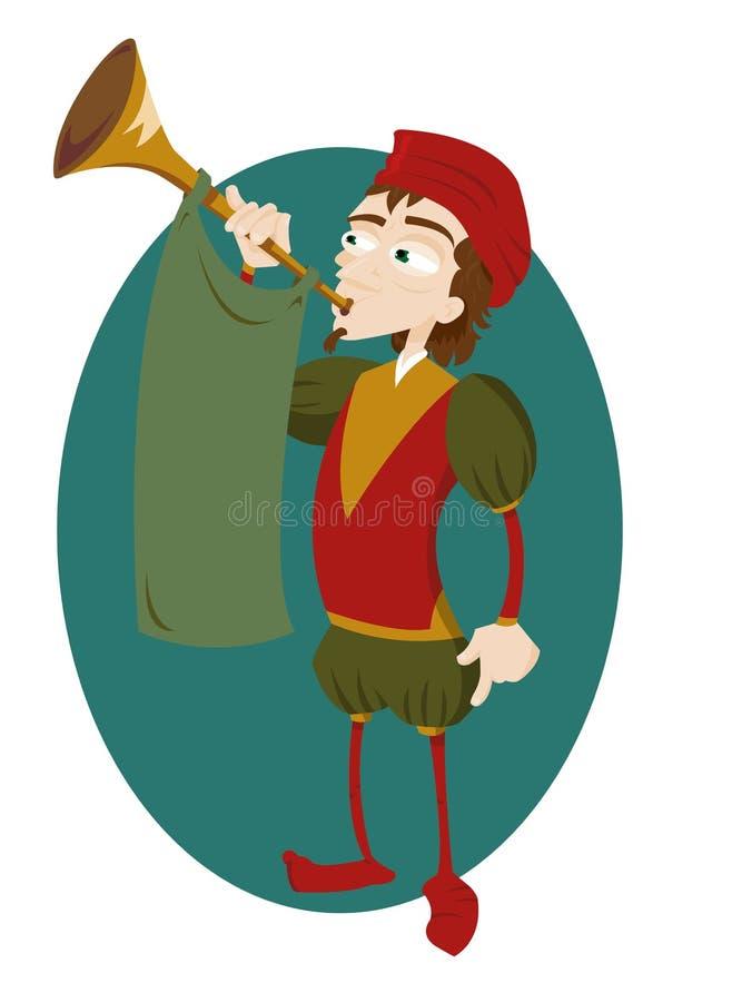与喇叭的滑稽的使者 皇族释放例证