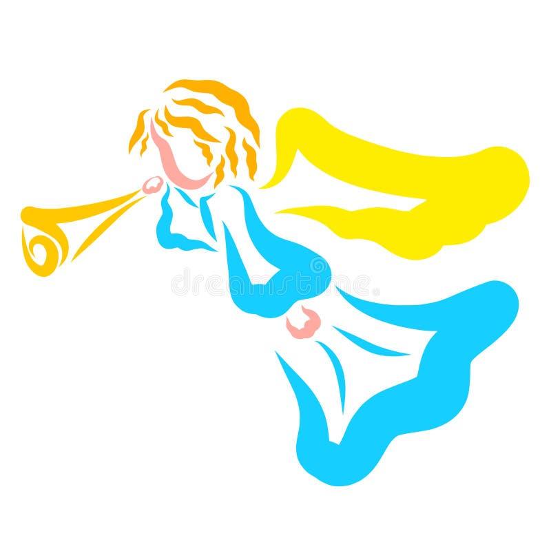 与喇叭,人的一则消息的天堂般的天使 向量例证
