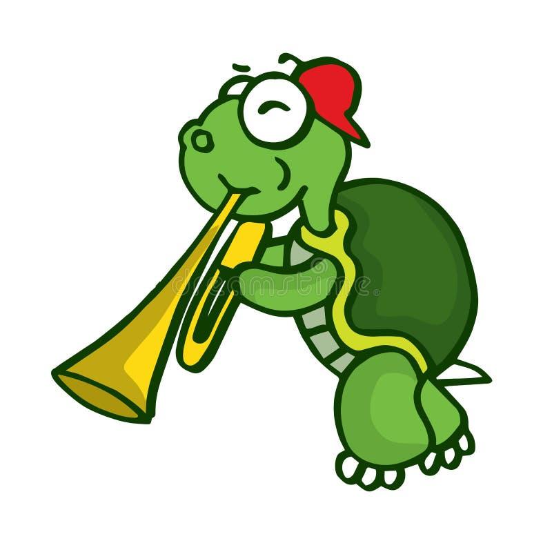 与喇叭滑稽的动画片的乌龟 向量例证