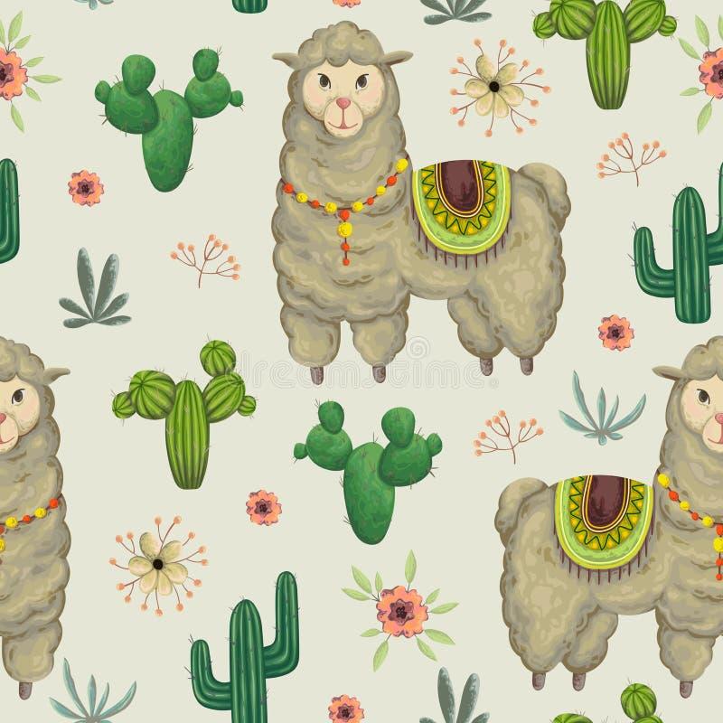 与喇嘛动物、仙人掌和花卉元素的无缝的样式 库存例证