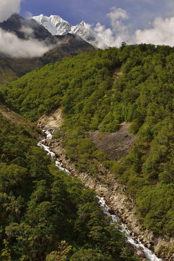与喜马拉雅山的风景在途中的背景中对珠穆琅玛营地, 免版税库存图片
