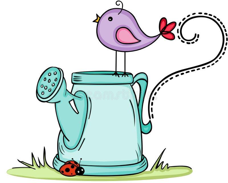 与喷壶的逗人喜爱的鸟.图片