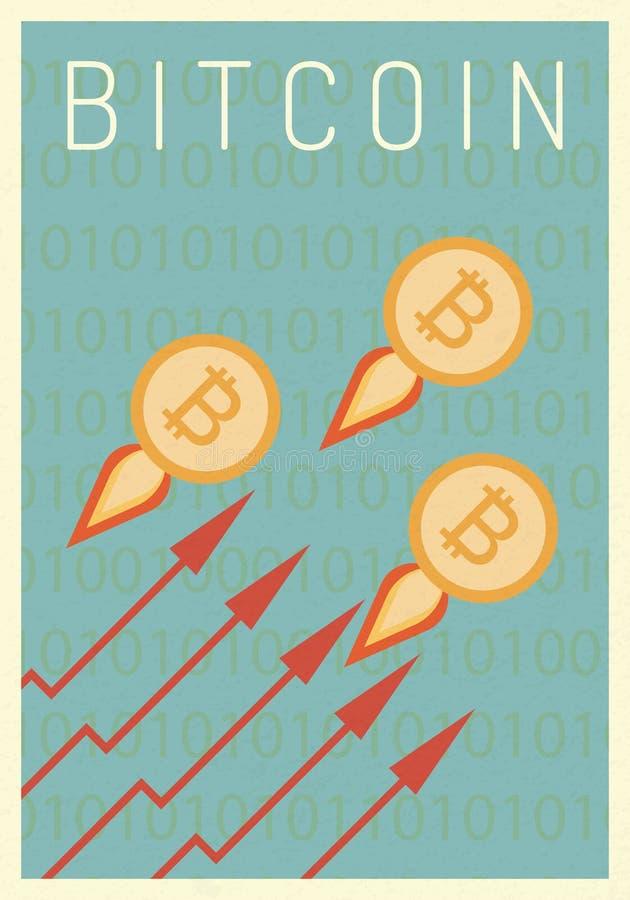 与喷气机的金bitcoin 企业财务 成长、经济、投资和技术,领导概念,最低纲领派减速火箭的p 皇族释放例证