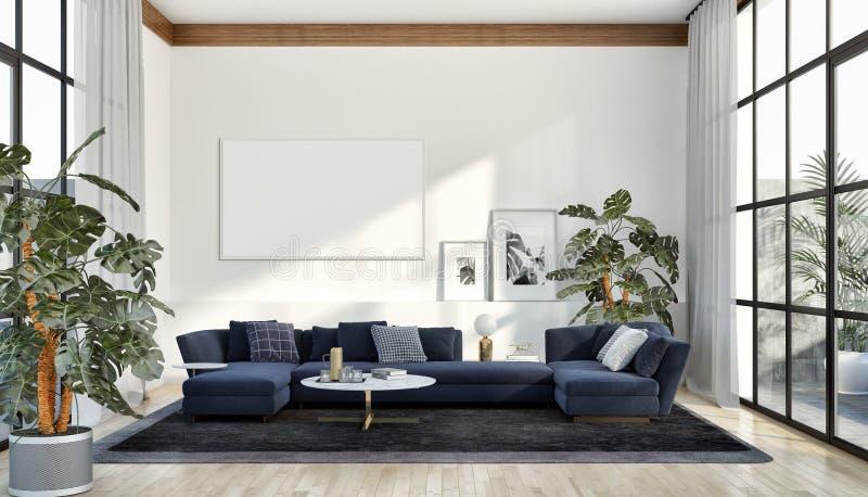 与嘲笑的现代明亮的内部公寓海报框架illu 免版税库存图片