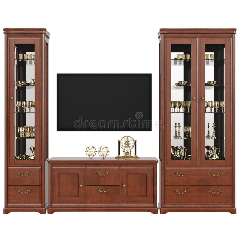与器物梳妆台和电视,正面图的餐具柜 皇族释放例证