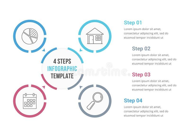 与四个元素的圈子Infographics 皇族释放例证