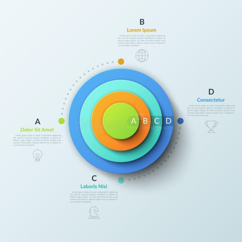 与四个圆的元素的圆图安置了一里面其他,稀薄的线标志并且在正文框上写字 概念的4 库存例证