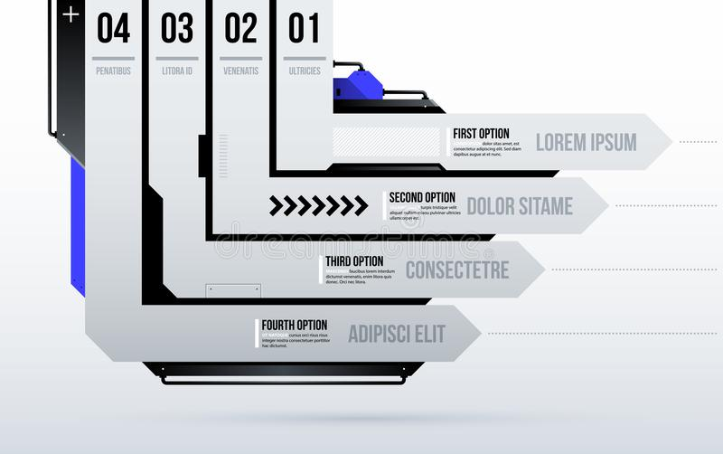 与四个定向条纹/选择的未来派模板在干净的高科技/techno样式 库存例证