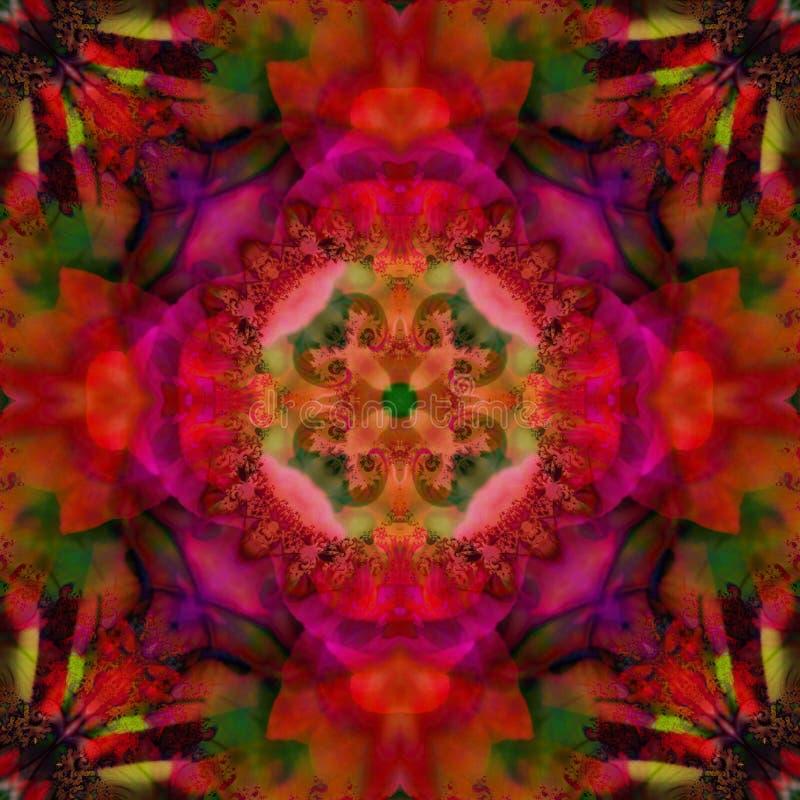 与四个瓣的坛场花装饰艺术运动在中环中心,颜色中开花紫红色,紫色,橄榄色和红色在背景中 向量例证