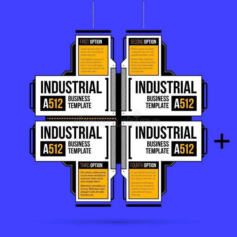 与四个选择的大高科技布局在几何工业/techno样式 库存例证