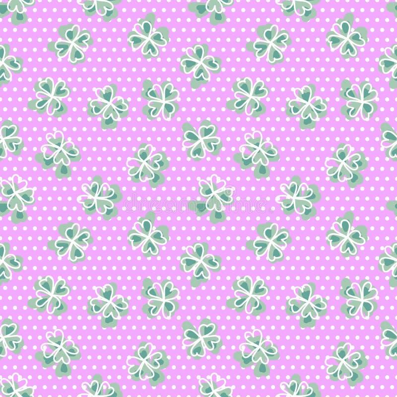 与四叶三叶草的无缝的样式 与斯堪的纳维亚设计的背景 绿色,桃红色,白色圆点 库存图片