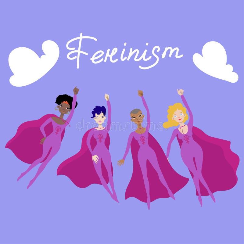 与四女性superheroines的女权海报 皇族释放例证