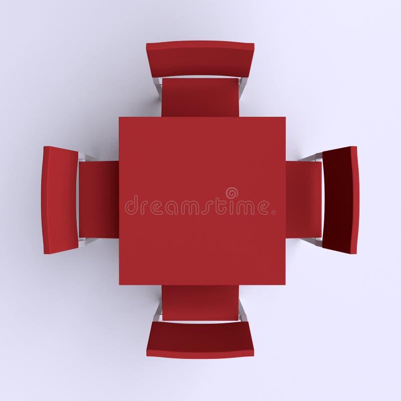 与四把椅子的方形的桌 向量例证
