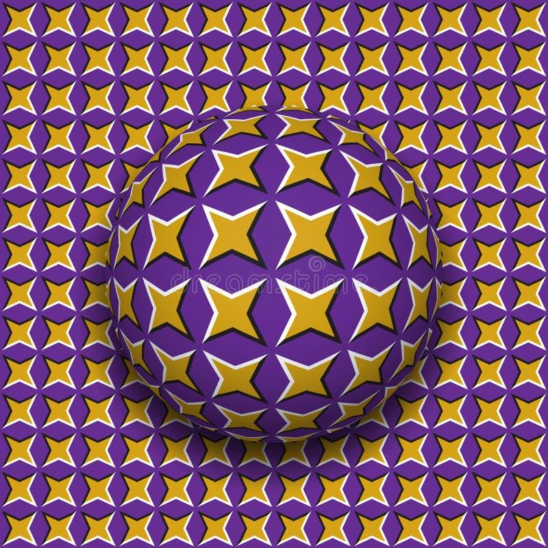 与四指向的特征模式辗压的球沿四指向了星表面 抽象传染媒介错觉例证 皇族释放例证