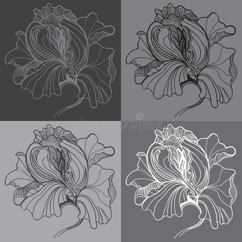 与四朵图表单色花的传染媒介印刷品 库存例证