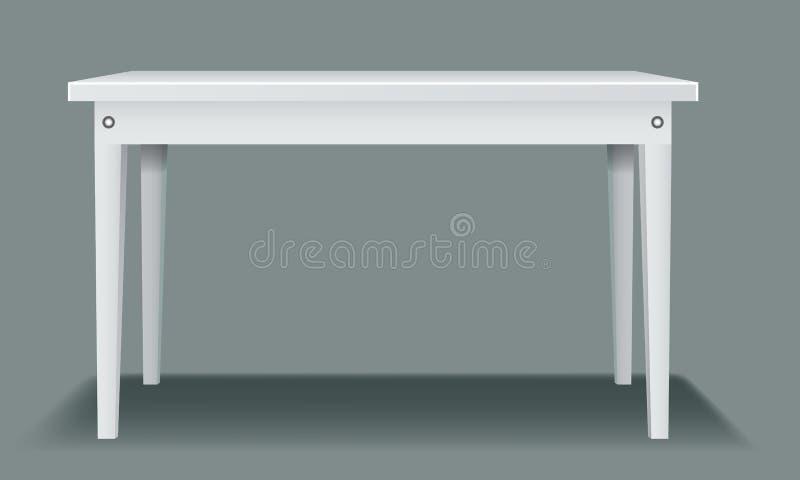 与四条腿和侧视图的白色空的桌 皇族释放例证