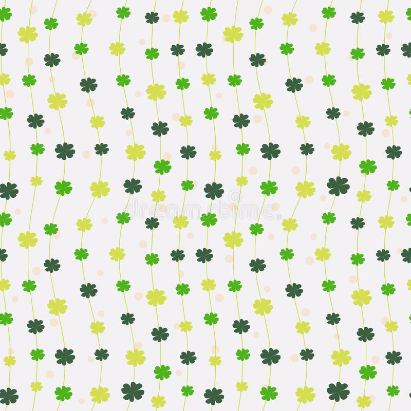 与四棵叶子三叶草的无缝的样式为圣帕特里克` s天 向量例证