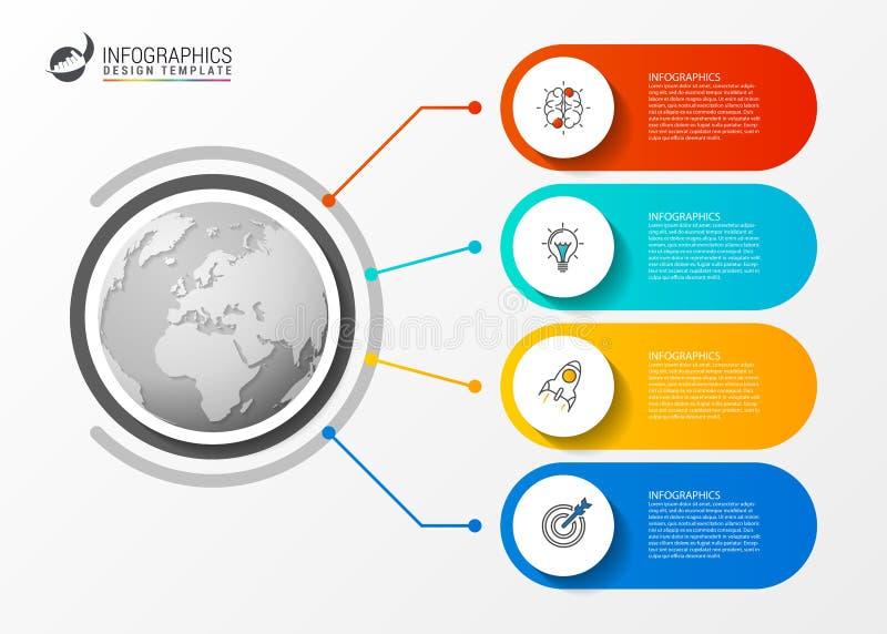 与四步的Infographic模板 到达天空的企业概念金黄回归键所有权 向量 向量例证
