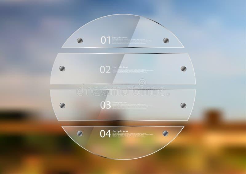与四玻璃板料创造的圈子的例证infographic模板 皇族释放例证