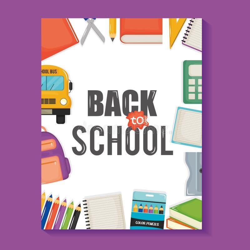 与回到学校和集合象的笔记本板料 皇族释放例证