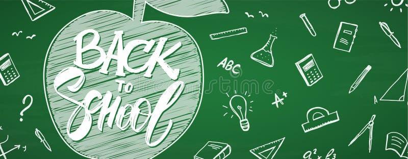 与回到学校,苹果手拉的字法的横幅和乱画在黑板背景的供应 库存例证