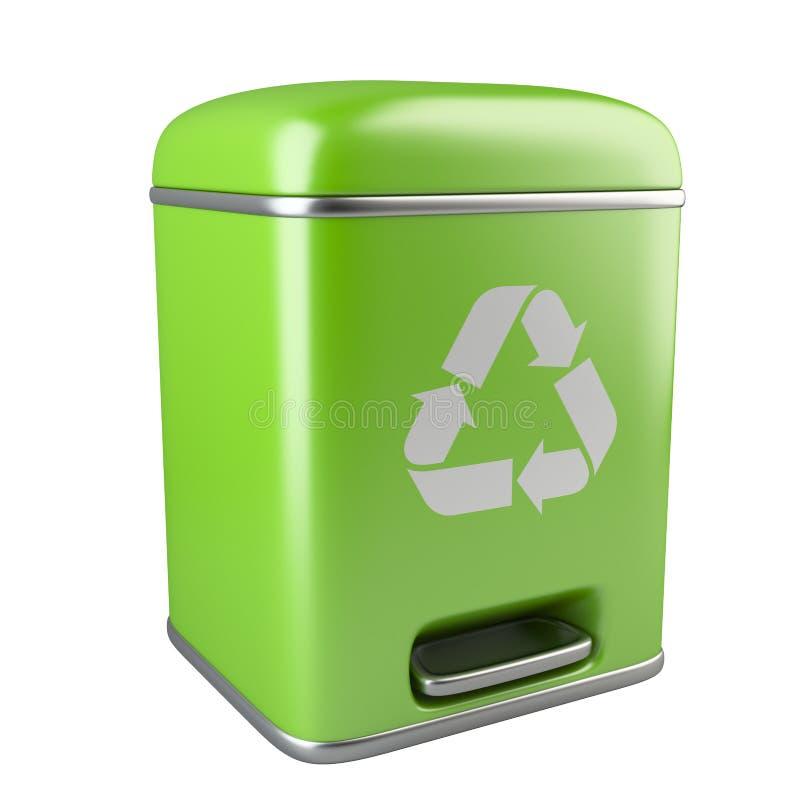 与回收标志的闭合的绿色生态垃圾箱 皇族释放例证