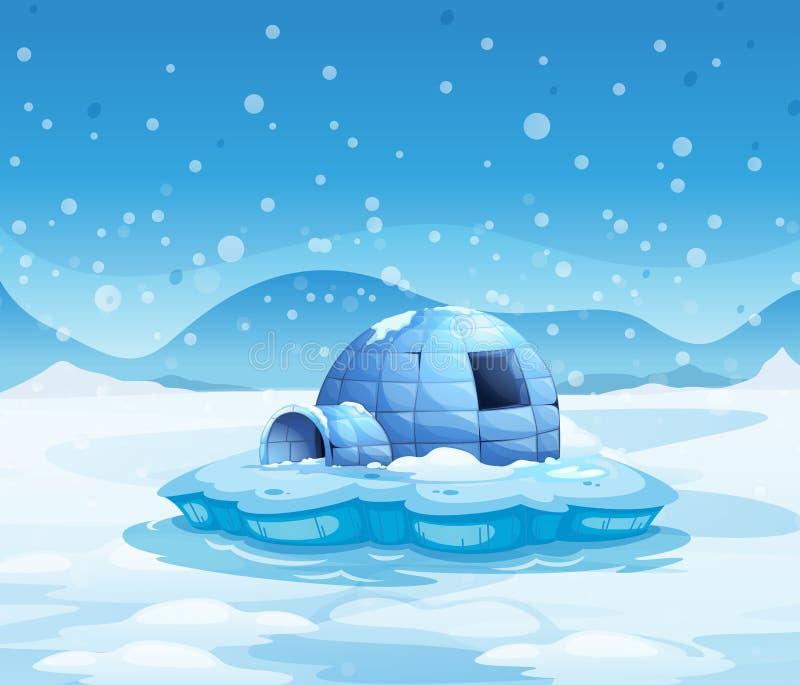 与园屋顶的小屋的一座冰山 库存例证