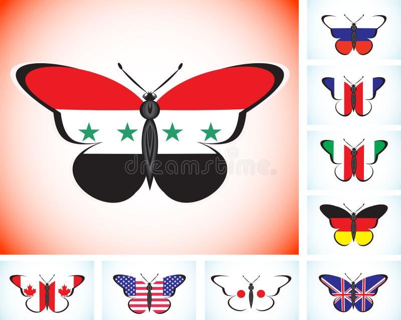 与国家八组和叙利亚的旗子的蝴蝶 库存例证