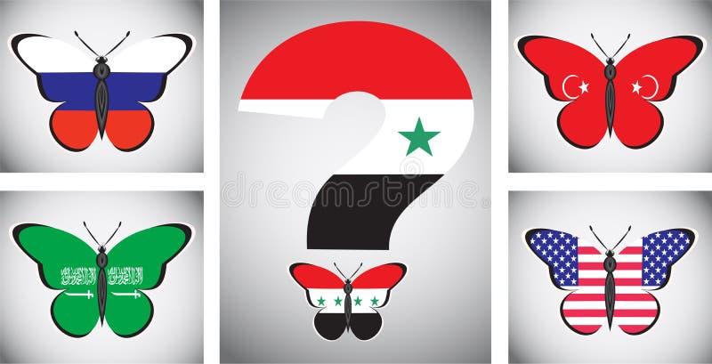 与国家和叙利亚问题旗子的Butterflis  库存例证