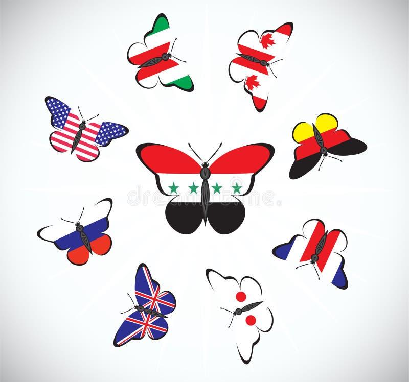 与国家旗子的蝴蝶  皇族释放例证