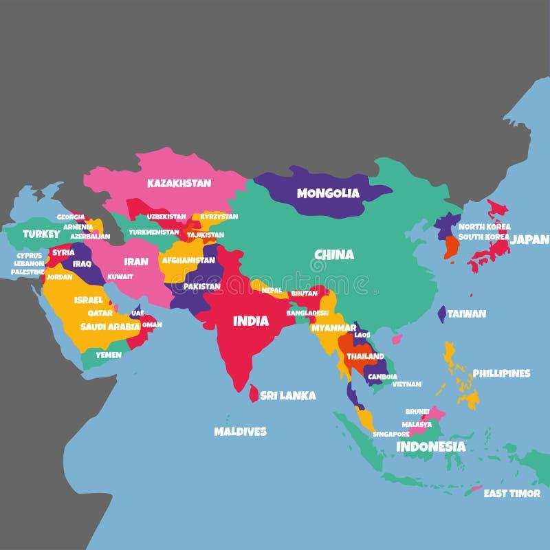 与国家的名字的亚洲地图 库存例证