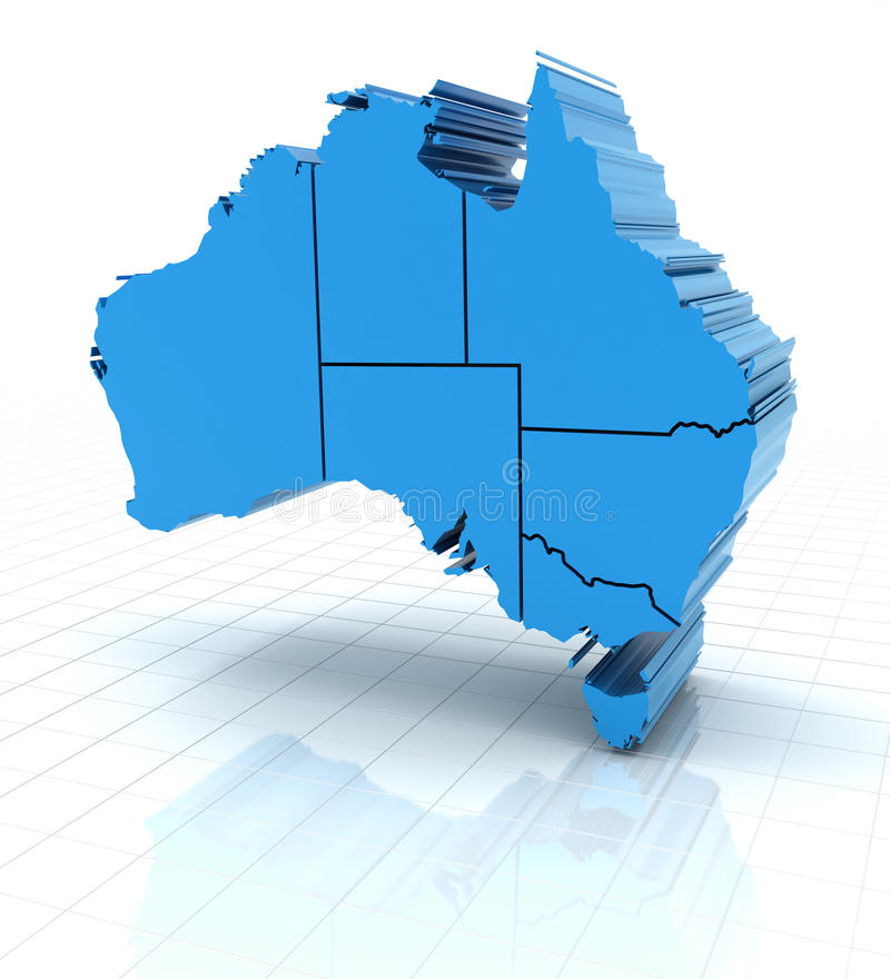 与国家边界的被挤压的澳大利亚地图 库存例证