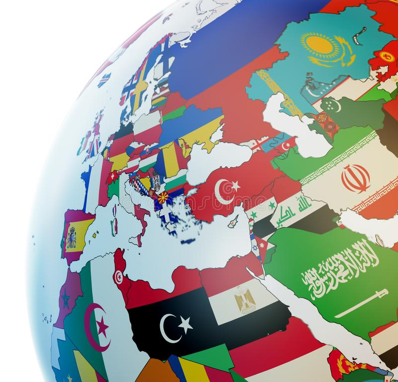 与国旗的地球 图库摄影
