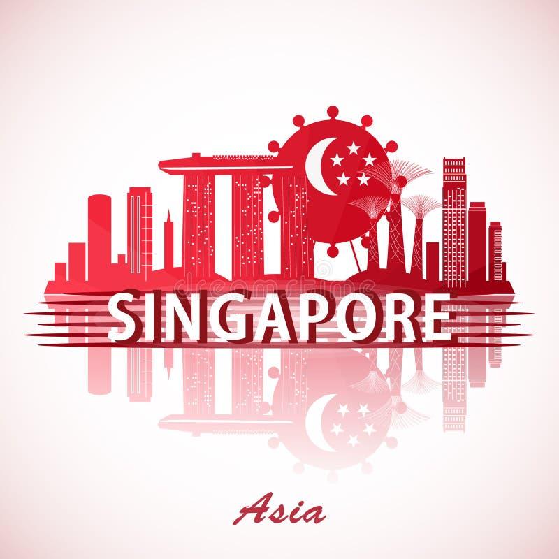 与国旗的现代新加坡市地平线设计 库存例证