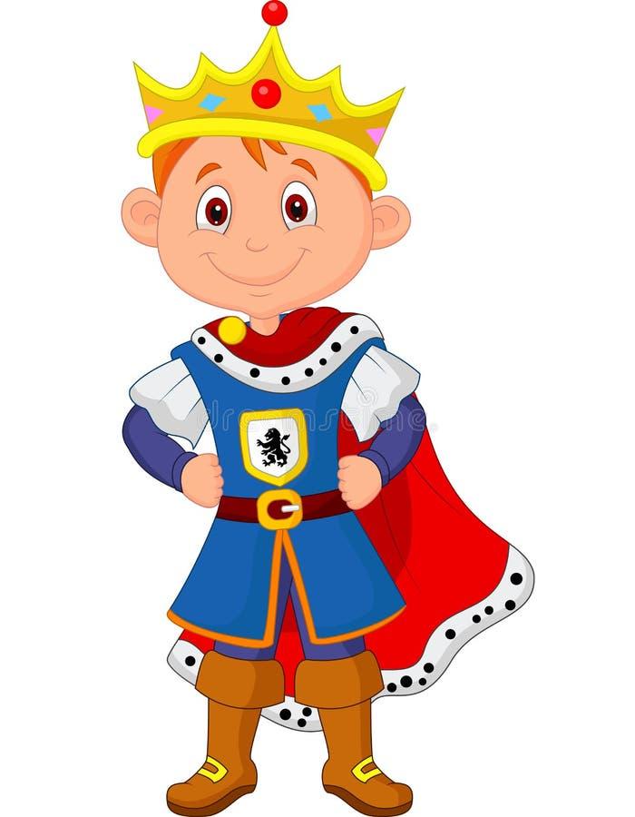 与国王服装的孩子动画片 向量例证