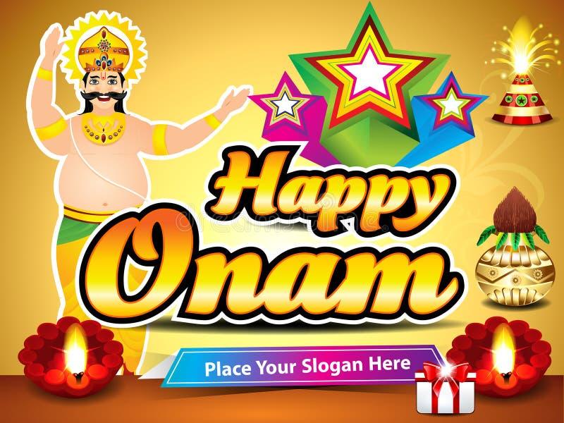 与国王mahabali的愉快的onam背景 向量例证