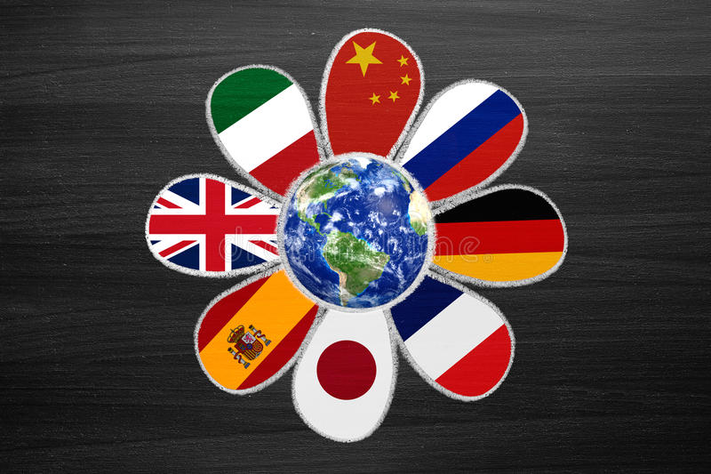 与国际旗子的语言花作为瓣,白垩凹道 库存图片